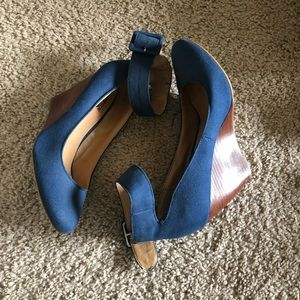 Navy ankle strap wedges